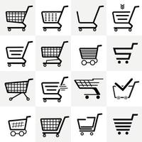 Set of 16 pieces abstract grocery carts on wheels from the supermarket - Vector