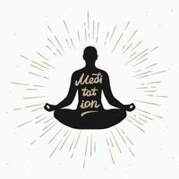 Illustration of a man meditating in the lotus position with sun rays monochrome vector