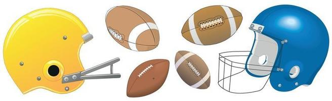 American football accessories on a white background - Vector