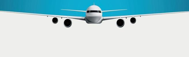 Realistic model of a civil aircraft on a white and blue background - Vector