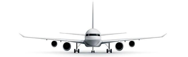 Realistic model of a civil aircraft on a white background - Vector