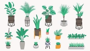 Potted plants collection in a loft style vector