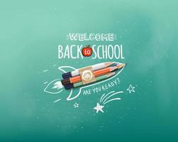 rocket ship launch made with colour pencils vector