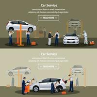 different workers in the process of repairing the car vector