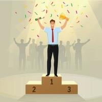 Success businessman character standing in a podium holding up a trophy vector