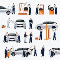 iconos de servicio de reparación de automóviles vector