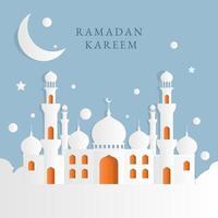 Fondo de mezquita en diseño de estilo de papel vector