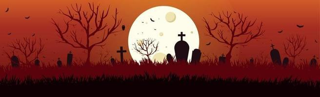 Scary gloomy night abandoned cemetery in the light of the moon vector