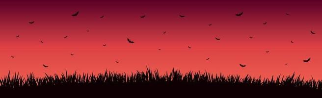 Many bats on a bright red sunset vector