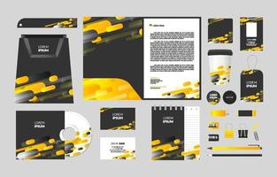 Abstract Yellow Business Stationary Kit vector