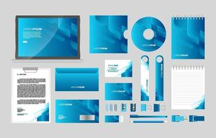 Abstract Blue Business Stationary Kit vector