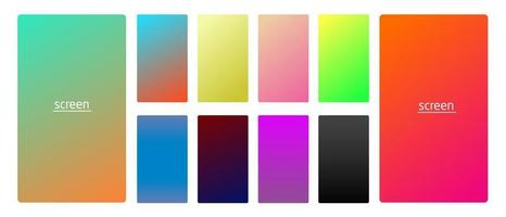 Vibrant and smooth gradient soft colors for devices pc and modern smartphone screen backgrounds set vector ux and ui design illustration