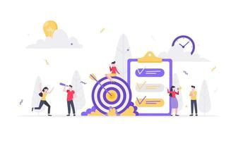Teamwork concept with tiny people characters working together vector