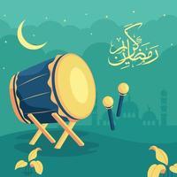 fondo de ramadan kareem bedug vector