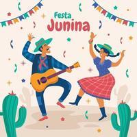 pareja bailando en la celebración de festa junina vector