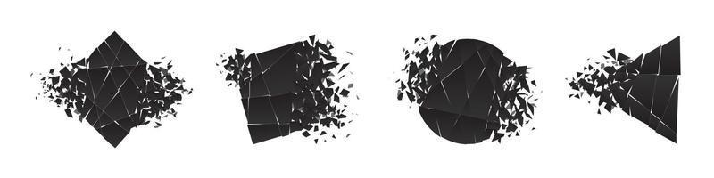 Shape shattered and explodes flat style design vector illustration set