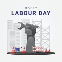 Giant arm fist holding wrench celebrating labour day vector