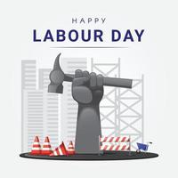 Raised up giant arm fist holding hammer represent international labour day vector