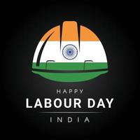 Happy labour day with tricolor helmet vector