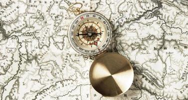 top view compass top world map. High quality and resolution beautiful photo concept