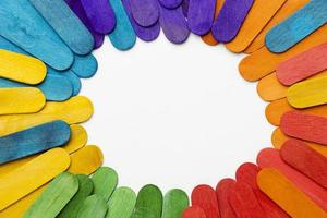 top view colorful sticks with copy space. High quality and resolution beautiful photo concept