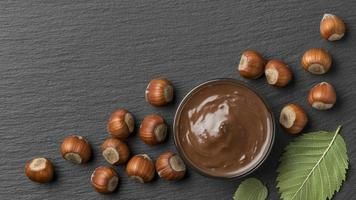 top view delicious hazelnut chocolate. High quality and resolution beautiful photo concept