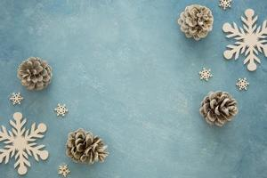 top view conifer pine cones and snowflakes. High quality and resolution beautiful photo concept