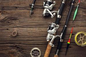 top view fishing essentials copy space. High quality and resolution beautiful photo concept