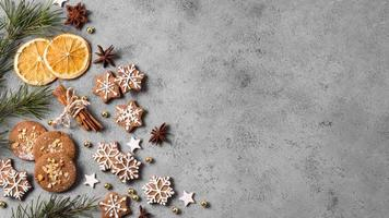 top view gingerbread cookies with citrus copy space. High quality and resolution beautiful photo concept