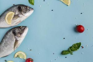 uncooked seafood fish veggies. High quality and resolution beautiful photo concept