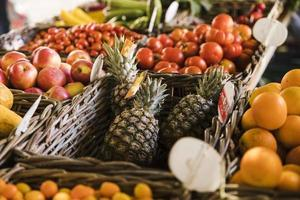variation fruits wicker basket market place. High quality and resolution beautiful photo concept