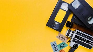 videotape with vintage videocamera and cinema tickets. High quality and resolution beautiful photo concept