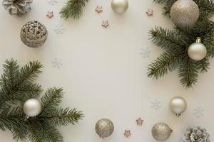 top view natural pine needles and christmas globes. High quality and resolution beautiful photo concept