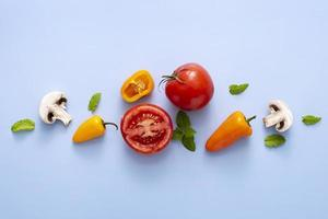 top view tomatoes mushrooms peppers. High quality and resolution beautiful photo concept