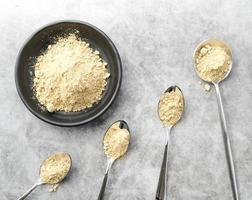organic food powder in bowl and spoons . High quality and resolution beautiful photo concept
