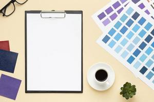 top view office desk composition graphic designer with clipboard. High quality and resolution beautiful photo concept