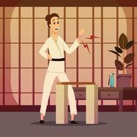 Injury On Karateka Composition Vector Illustration
