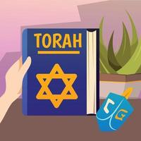 Pentateuch Book Background Composition Vector Illustration