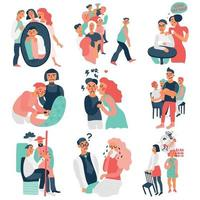 Sociopathy Icons Set Vector Illustration