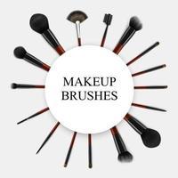 Makeup Brushes Realistic Set Frame Vector Illustration