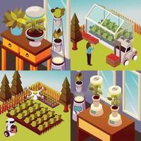 Robotised Farmstead Design Concept Vector Illustration