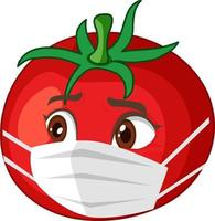 Tomato cartoon character wearing mask on white background vector