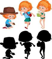 Cartoon character of a girl doing different activities with silhouette vector