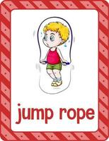 Vocabulary flashcard with word Jump Rope vector