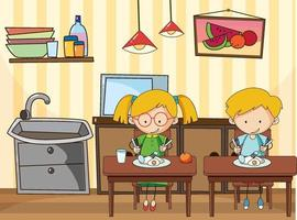 Little kids in the kitchen scene with equipments vector