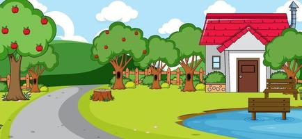 Outdoor scene with front of a house along the road vector
