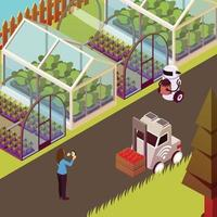 Robots And Hothouse Background Vector Illustration