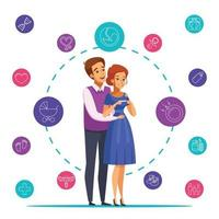 Ilustración de vector de composición de dibujos animados de embarazo
