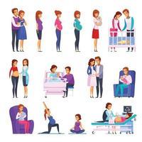 Los iconos de dibujos animados recién nacidos de embarazo establecen ilustración vectorial vector