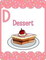 Alphabet flashcard with letter D for Dessert vector